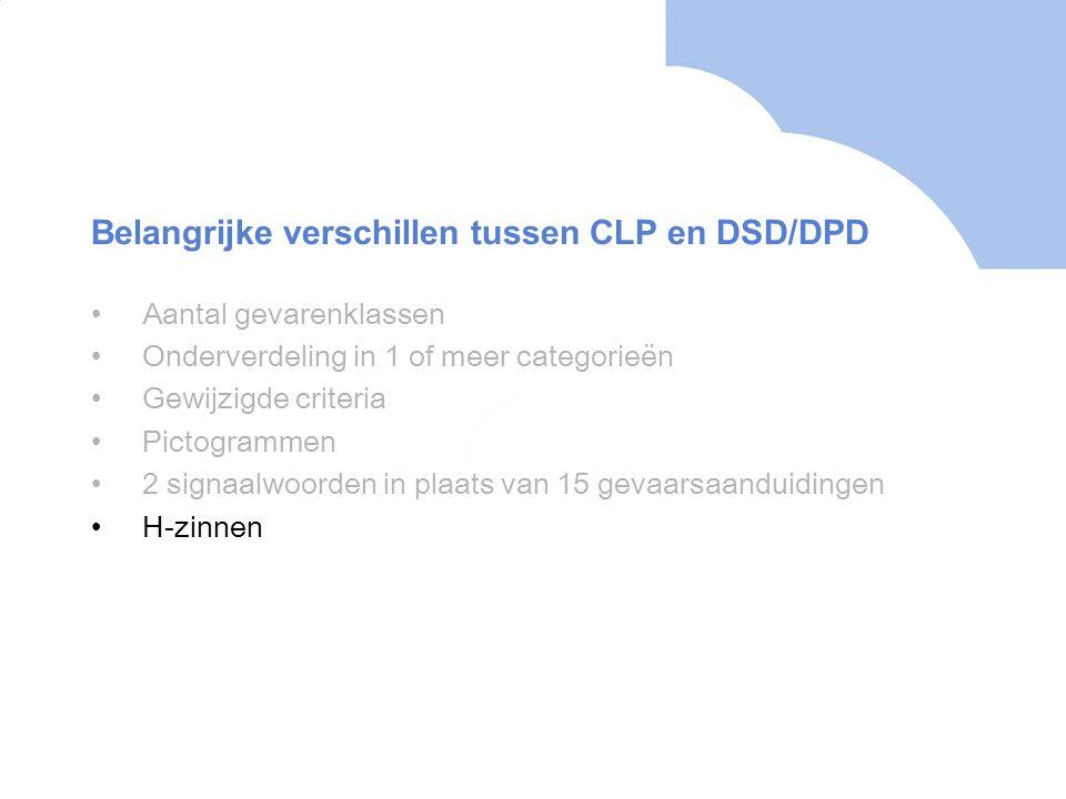•Aantal gevarenklassen •Onderverdeling in 1 of meer categorieën •Gewijzigde criteria •Pictogrammen •2 signaalwoorden in plaats van 15 gevaarsaanduidingen •H-zinnen Belangrijke verschillen tussen CLP en DSD/DPD