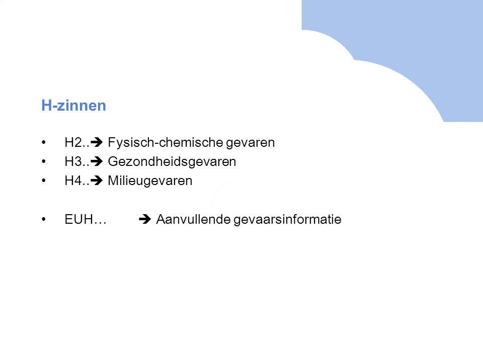 H-zinnen •H2..  Fysisch-chemische gevaren •H3..  Gezondheidsgevaren •H4..  Milieugevaren •EUH…  Aanvullende gevaarsinformatie