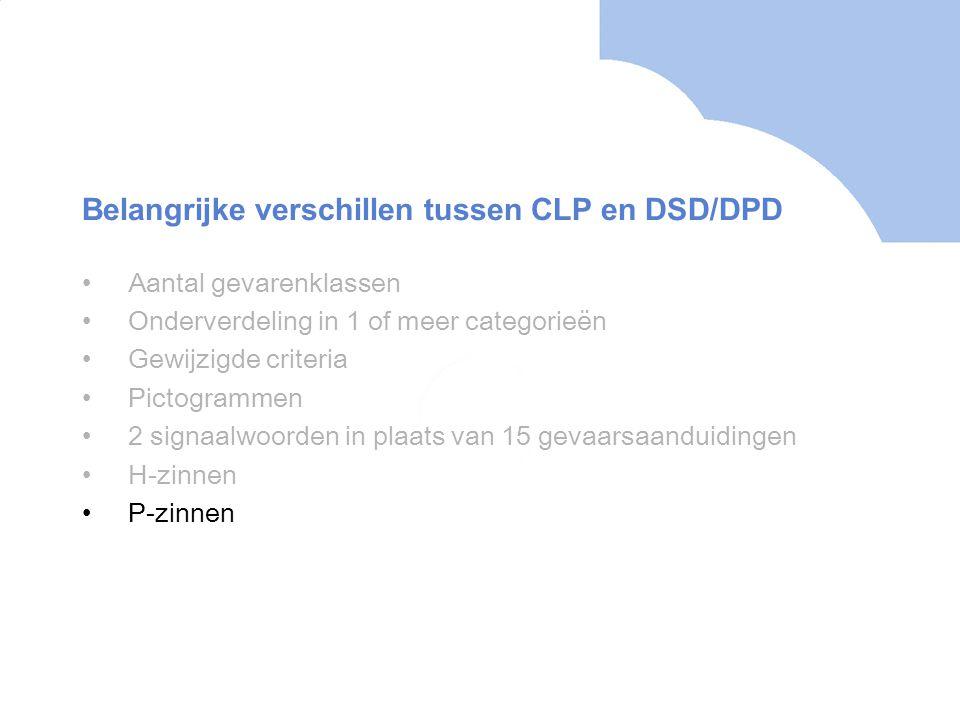 •Aantal gevarenklassen •Onderverdeling in 1 of meer categorieën •Gewijzigde criteria •Pictogrammen •2 signaalwoorden in plaats van 15 gevaarsaanduidingen •H-zinnen •P-zinnen Belangrijke verschillen tussen CLP en DSD/DPD