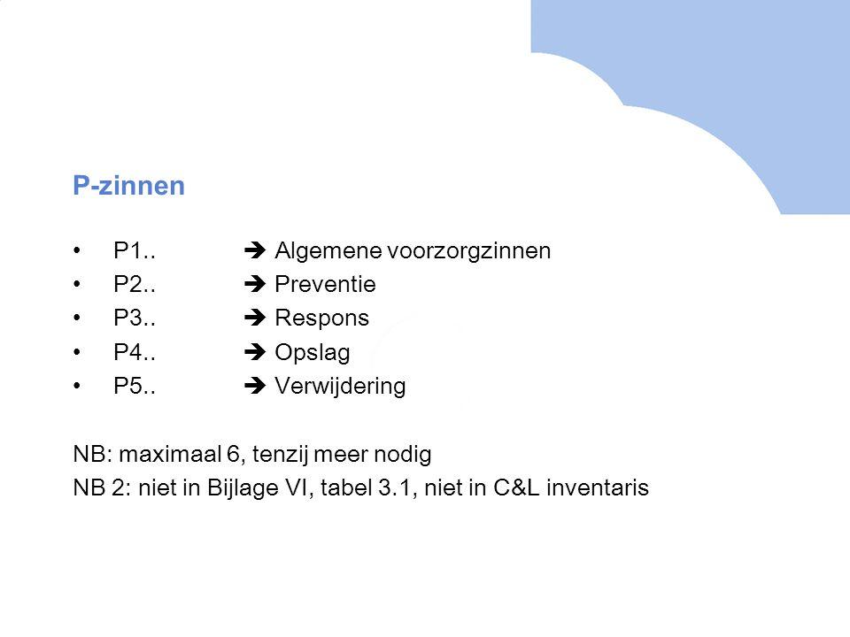 P-zinnen •P1.. Algemene voorzorgzinnen •P2..  Preventie •P3..