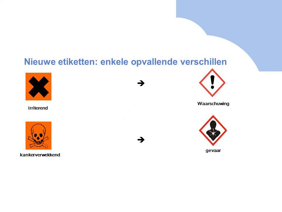 Nieuwe etiketten: enkele opvallende verschillen   irriterend Waarschuwing kankerverwekkend gevaar