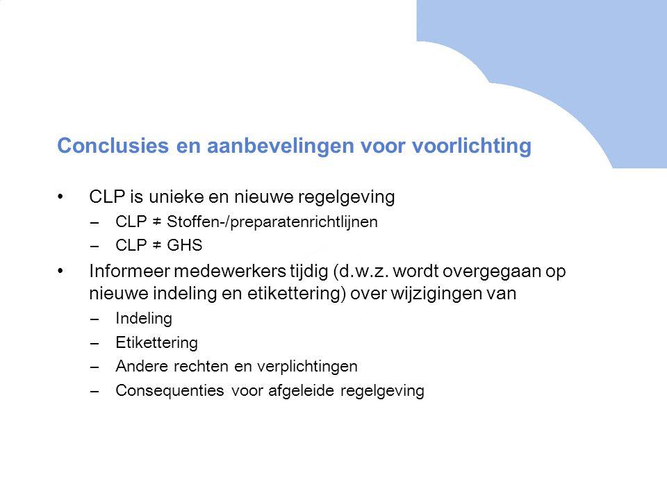 Conclusies en aanbevelingen voor voorlichting •CLP is unieke en nieuwe regelgeving –CLP ≠ Stoffen-/preparatenrichtlijnen –CLP ≠ GHS •Informeer medewerkers tijdig (d.w.z.