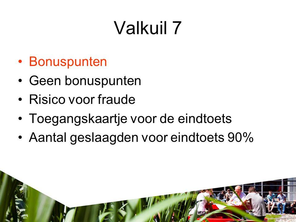 Valkuil 7 •Bonuspunten •Geen bonuspunten •Risico voor fraude •Toegangskaartje voor de eindtoets •Aantal geslaagden voor eindtoets 90%