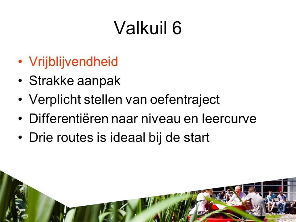 Valkuil 6 •Vrijblijvendheid •Strakke aanpak •Verplicht stellen van oefentraject •Differentiëren naar niveau en leercurve •Drie routes is ideaal bij de start