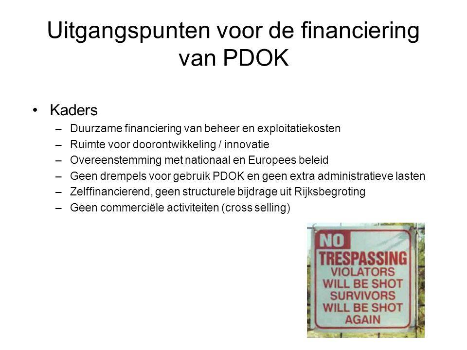 Uitgangspunten voor de financiering van PDOK •Kaders –Duurzame financiering van beheer en exploitatiekosten –Ruimte voor doorontwikkeling / innovatie