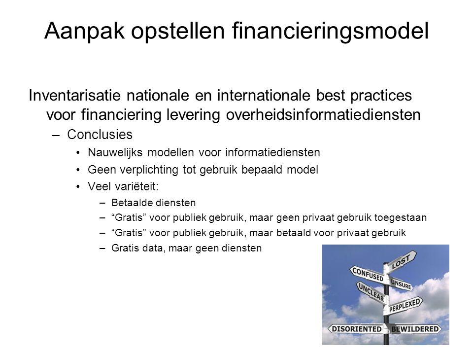 Aanpak opstellen financieringsmodel Inventarisatie nationale en internationale best practices voor financiering levering overheidsinformatiediensten –