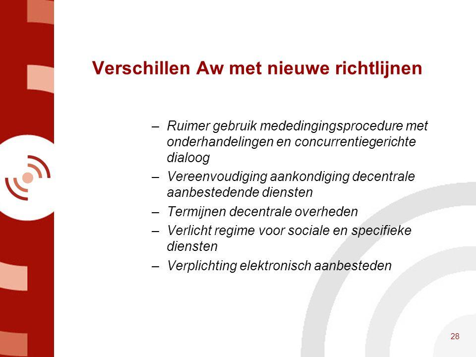 Verschillen Aw met nieuwe richtlijnen –Ruimer gebruik mededingingsprocedure met onderhandelingen en concurrentiegerichte dialoog –Vereenvoudiging aank
