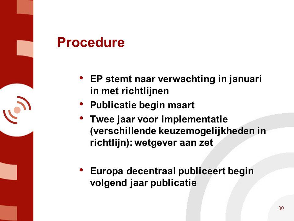Procedure • EP stemt naar verwachting in januari in met richtlijnen • Publicatie begin maart • Twee jaar voor implementatie (verschillende keuzemogeli