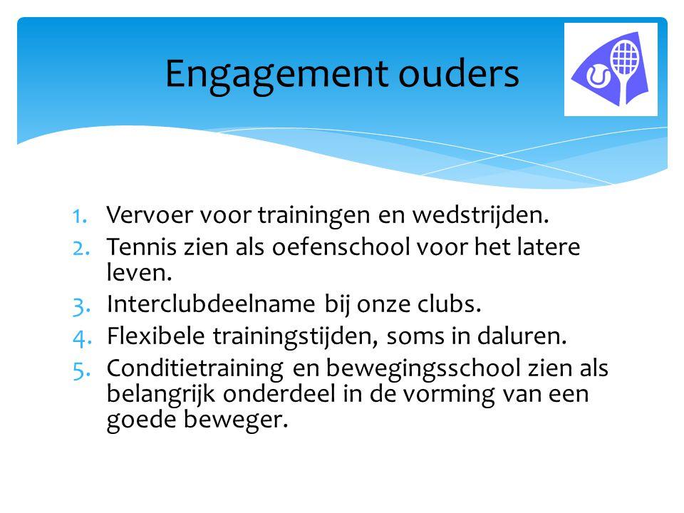 1.Vervoer voor trainingen en wedstrijden. 2.Tennis zien als oefenschool voor het latere leven. 3.Interclubdeelname bij onze clubs. 4.Flexibele trainin
