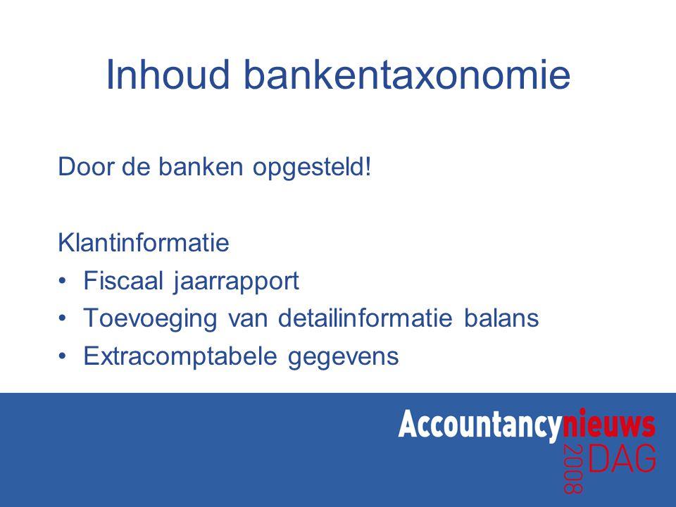 Inhoud bankentaxonomie Door de banken opgesteld.