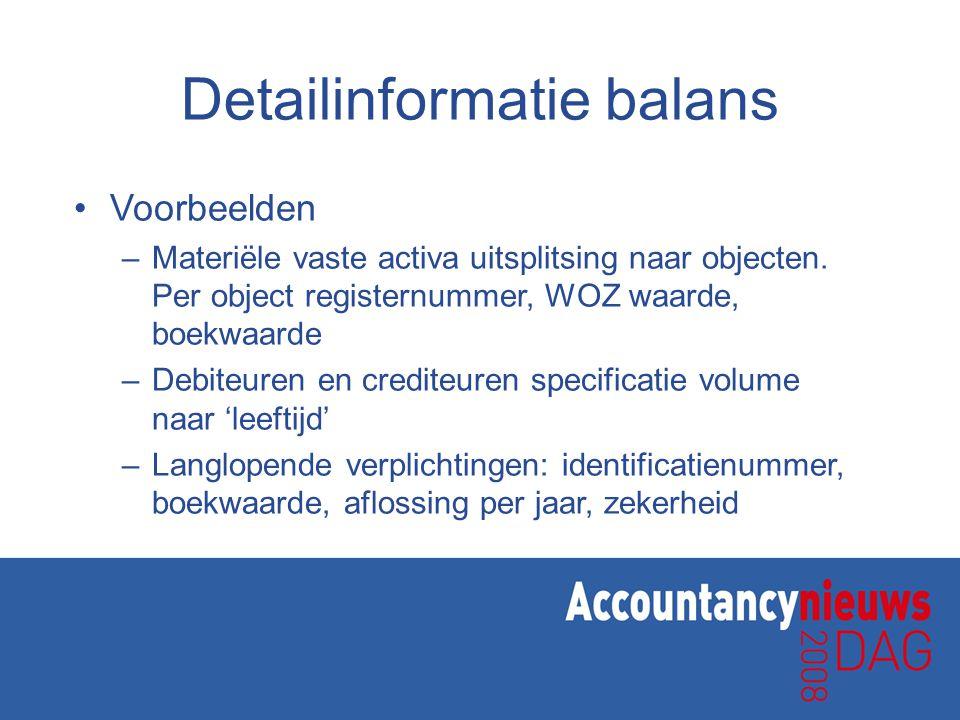 Detailinformatie balans •Voorbeelden –Materiële vaste activa uitsplitsing naar objecten.