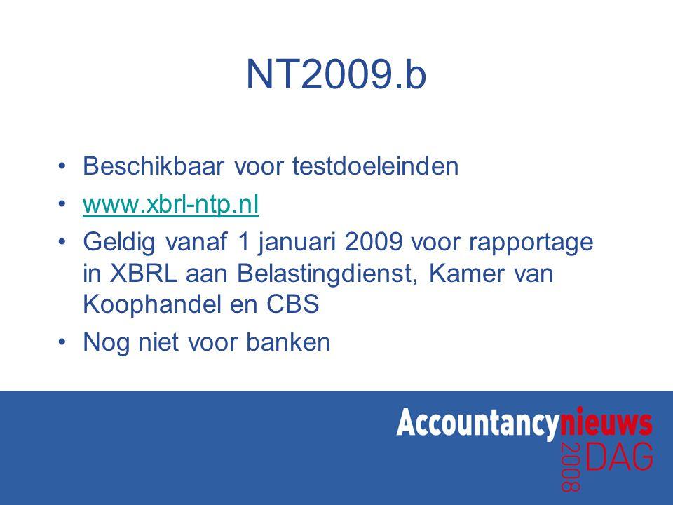 NT2009.b •Beschikbaar voor testdoeleinden •www.xbrl-ntp.nlwww.xbrl-ntp.nl •Geldig vanaf 1 januari 2009 voor rapportage in XBRL aan Belastingdienst, Kamer van Koophandel en CBS •Nog niet voor banken