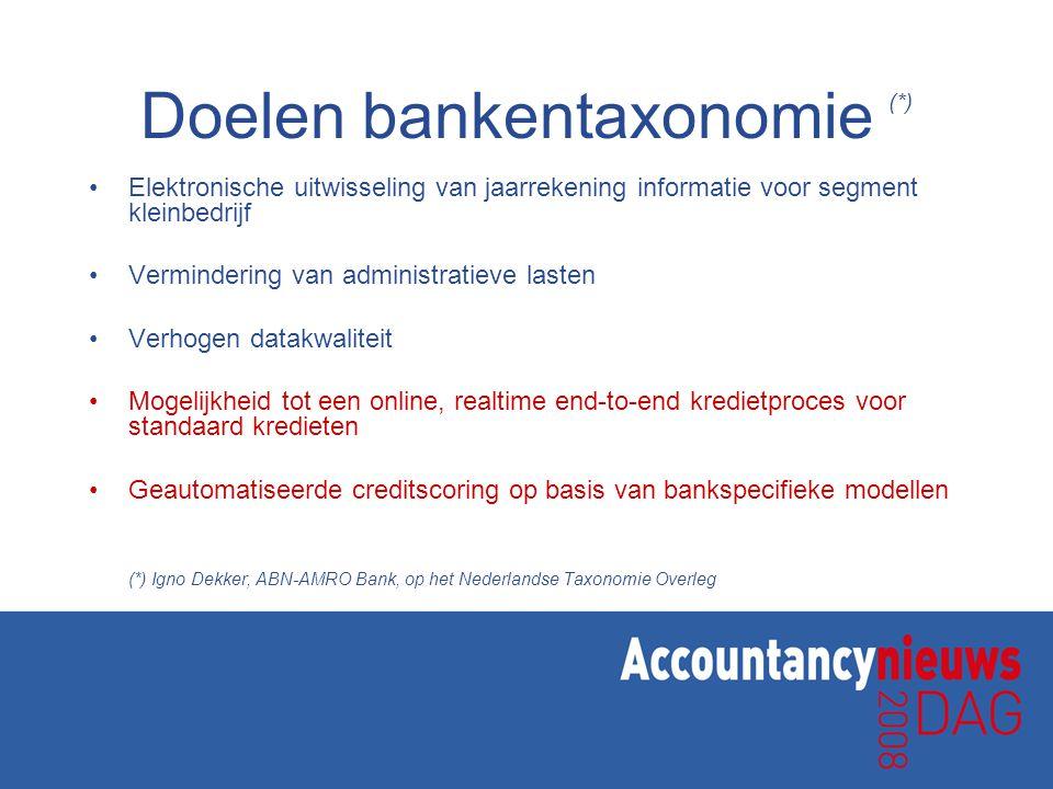 Doelen bankentaxonomie (*) •Elektronische uitwisseling van jaarrekening informatie voor segment kleinbedrijf •Vermindering van administratieve lasten •Verhogen datakwaliteit •Mogelijkheid tot een online, realtime end-to-end kredietproces voor standaard kredieten •Geautomatiseerde creditscoring op basis van bankspecifieke modellen (*) Igno Dekker, ABN-AMRO Bank, op het Nederlandse Taxonomie Overleg