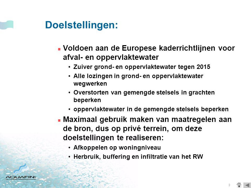 3 Doelstellingen:  Voldoen aan de Europese kaderrichtlijnen voor afval- en oppervlaktewater •Zuiver grond- en oppervlaktewater tegen 2015 •Alle lozingen in grond- en oppervlaktewater wegwerken •Overstorten van gemengde stelsels in grachten beperken •oppervlaktewater in de gemengde stelsels beperken  Maximaal gebruik maken van maatregelen aan de bron, dus op privé terrein, om deze doelstellingen te realiseren: •Afkoppelen op woningniveau •Herbruik, buffering en infiltratie van het RW