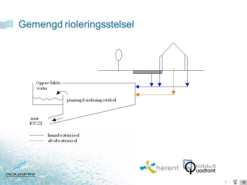 6 Gescheiden rioleringen en afkoppelingen  Gescheiden riolering: aanleg van een aparte afvalwaterleiding en regenwaterleiding of gracht.