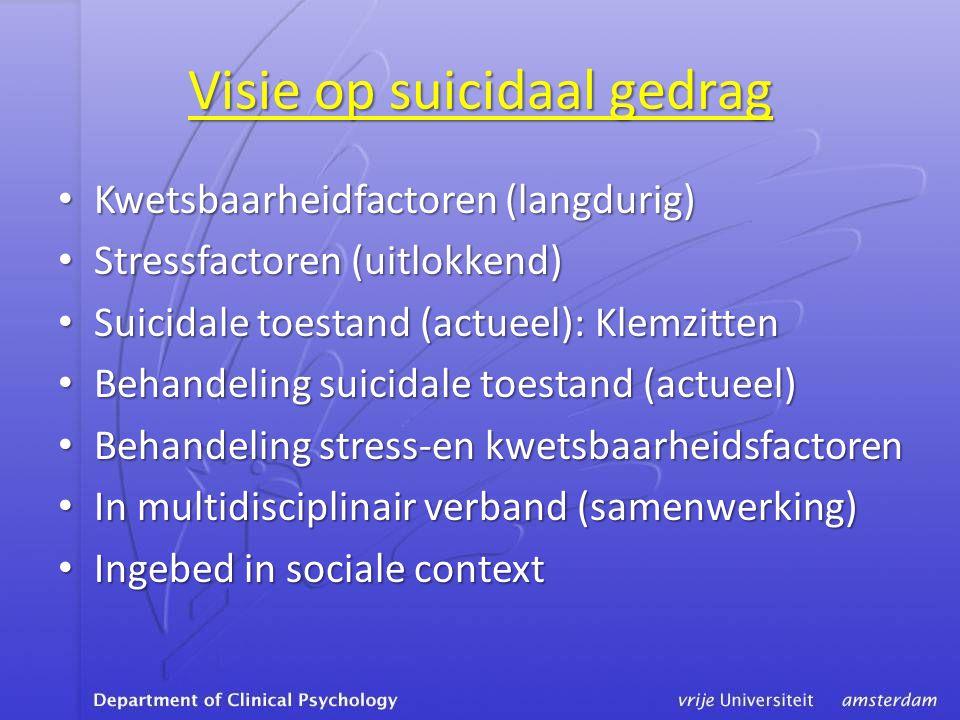 Visie op suicidaal gedrag • Kwetsbaarheidfactoren (langdurig) • Stressfactoren (uitlokkend) • Suicidale toestand (actueel): Klemzitten • Behandeling suicidale toestand (actueel) • Behandeling stress-en kwetsbaarheidsfactoren • In multidisciplinair verband (samenwerking) • Ingebed in sociale context
