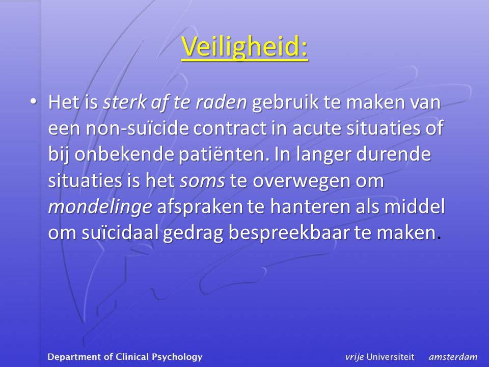 Veiligheid: • Het is sterk af te raden gebruik te maken van een non-suïcide contract in acute situaties of bij onbekende patiënten.