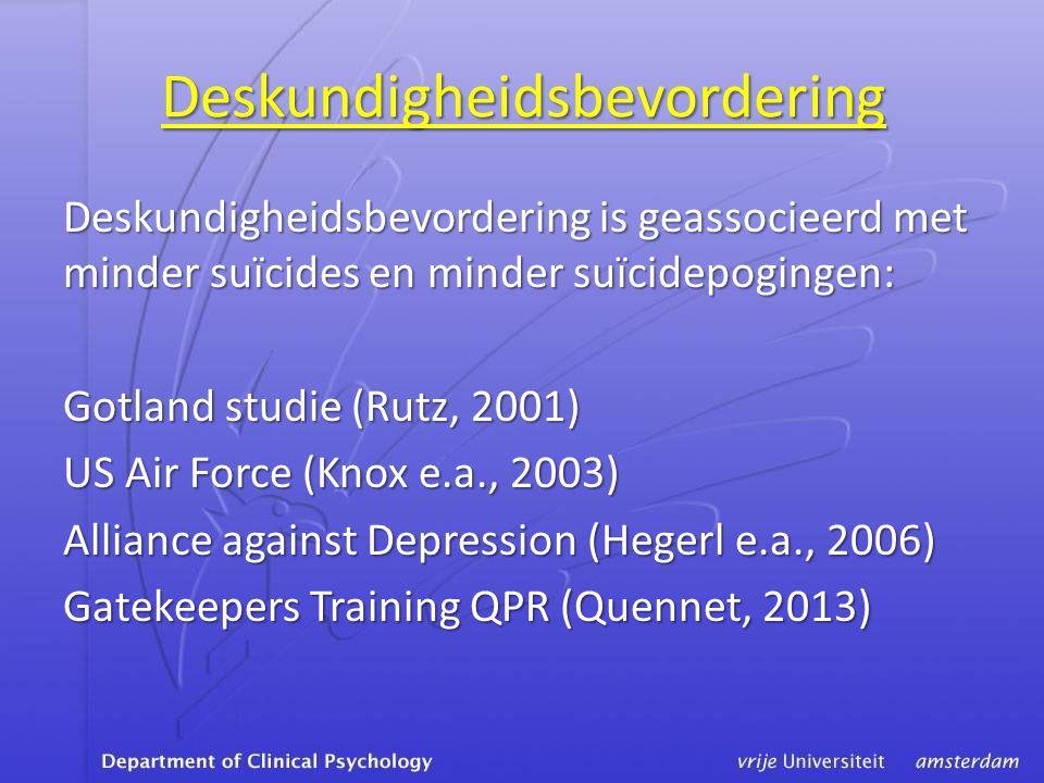 Deskundigheidsbevordering Deskundigheidsbevordering is geassocieerd met minder suïcides en minder suïcidepogingen: Gotland studie (Rutz, 2001) US Air Force (Knox e.a., 2003) Alliance against Depression (Hegerl e.a., 2006) Gatekeepers Training QPR (Quennet, 2013)