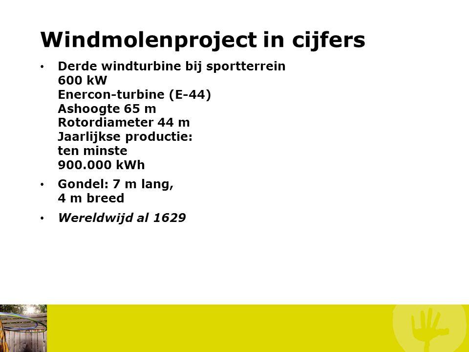 Windmolenproject in cijfers • Derde windturbine bij sportterrein 600 kW Enercon-turbine (E-44) Ashoogte 65 m Rotordiameter 44 m Jaarlijkse productie: