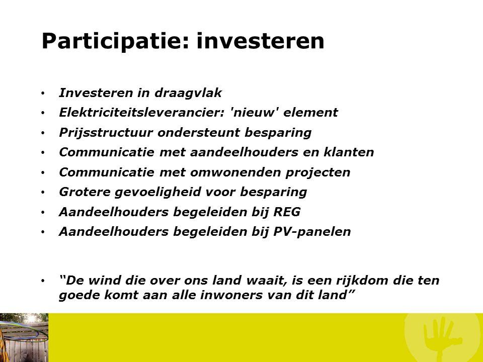 Participatie: investeren • Investeren in draagvlak • Elektriciteitsleverancier: 'nieuw' element • Prijsstructuur ondersteunt besparing • Communicatie
