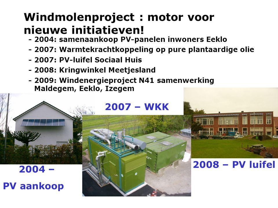 Windmolenproject : motor voor nieuwe initiatieven! - 2004: samenaankoop PV-panelen inwoners Eeklo - 2007: Warmtekrachtkoppeling op pure plantaardige o