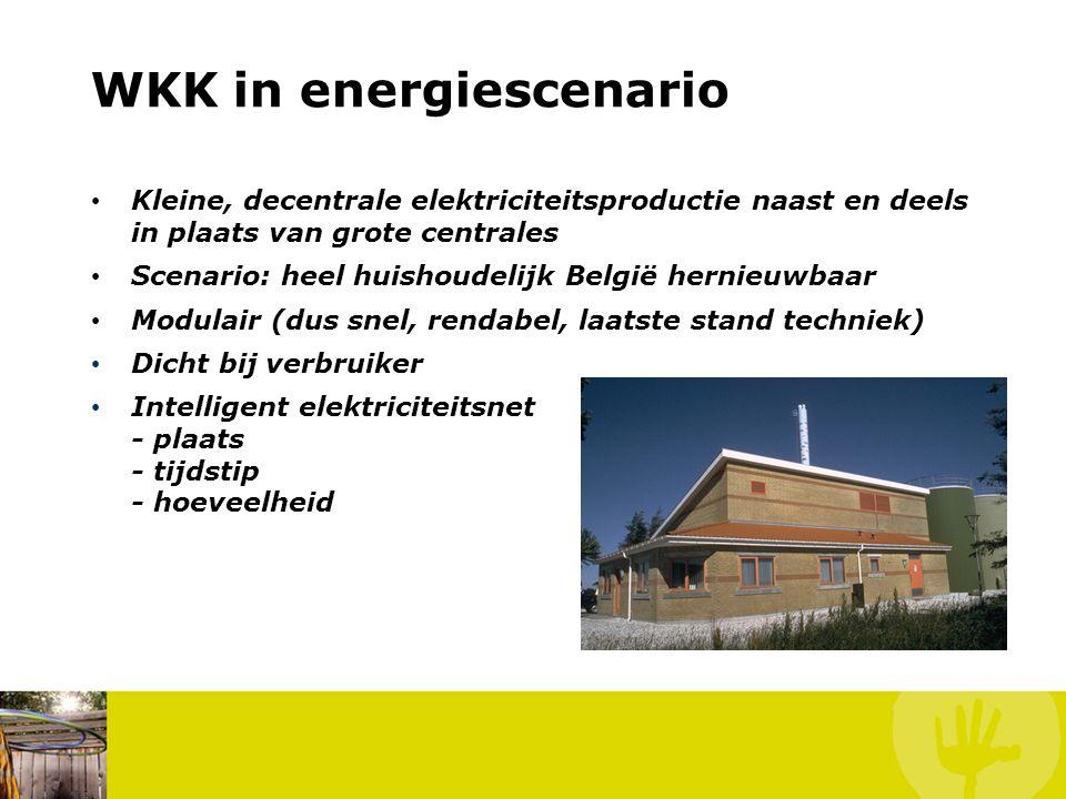 WKK in energiescenario • Kleine, decentrale elektriciteitsproductie naast en deels in plaats van grote centrales • Scenario: heel huishoudelijk België hernieuwbaar • Modulair (dus snel, rendabel, laatste stand techniek) • Dicht bij verbruiker • Intelligent elektriciteitsnet - plaats - tijdstip - hoeveelheid