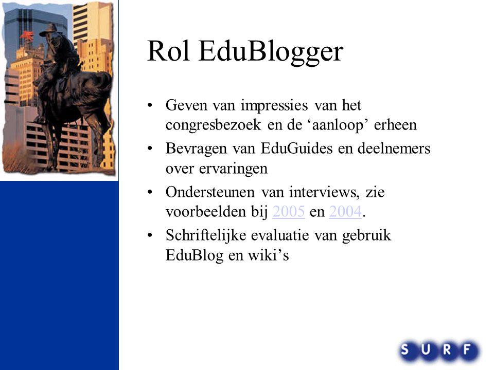 Rol EduBlogger •Geven van impressies van het congresbezoek en de 'aanloop' erheen •Bevragen van EduGuides en deelnemers over ervaringen •Ondersteunen