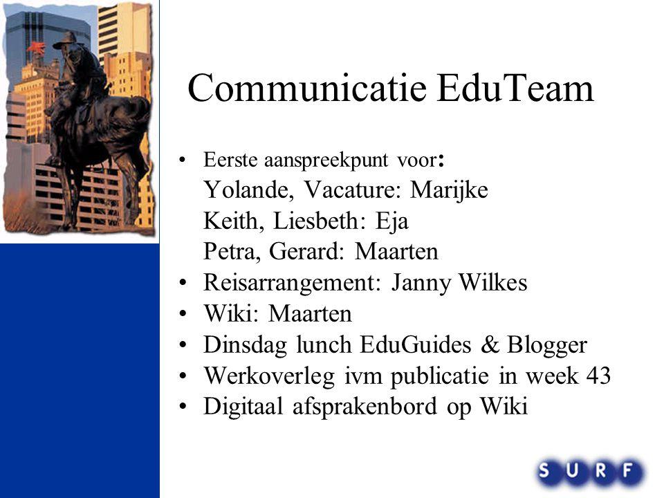 Communicatie EduTeam •Eerste aanspreekpunt voor : Yolande, Vacature: Marijke Keith, Liesbeth: Eja Petra, Gerard: Maarten •Reisarrangement: Janny Wilke