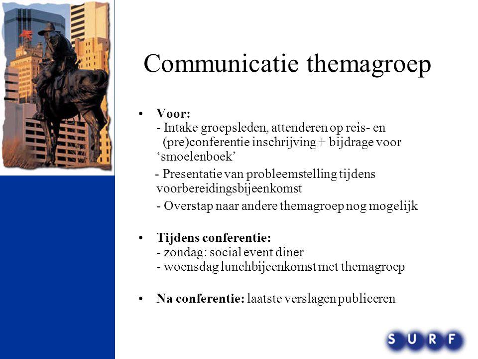 Communicatie themagroep •Voor: - Intake groepsleden, attenderen op reis- en (pre)conferentie inschrijving + bijdrage voor 'smoelenboek' - Presentatie