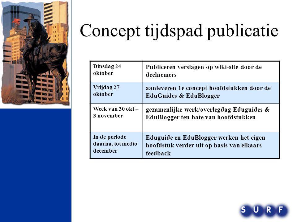 Concept tijdspad publicatie Dinsdag 24 oktober Publiceren verslagen op wiki-site door de deelnemers Vrijdag 27 oktober aanleveren 1e concept hoofdstuk