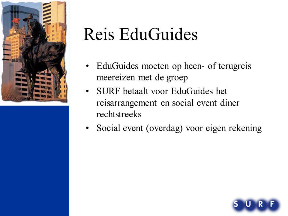 Reis EduGuides •EduGuides moeten op heen- of terugreis meereizen met de groep •SURF betaalt voor EduGuides het reisarrangement en social event diner r