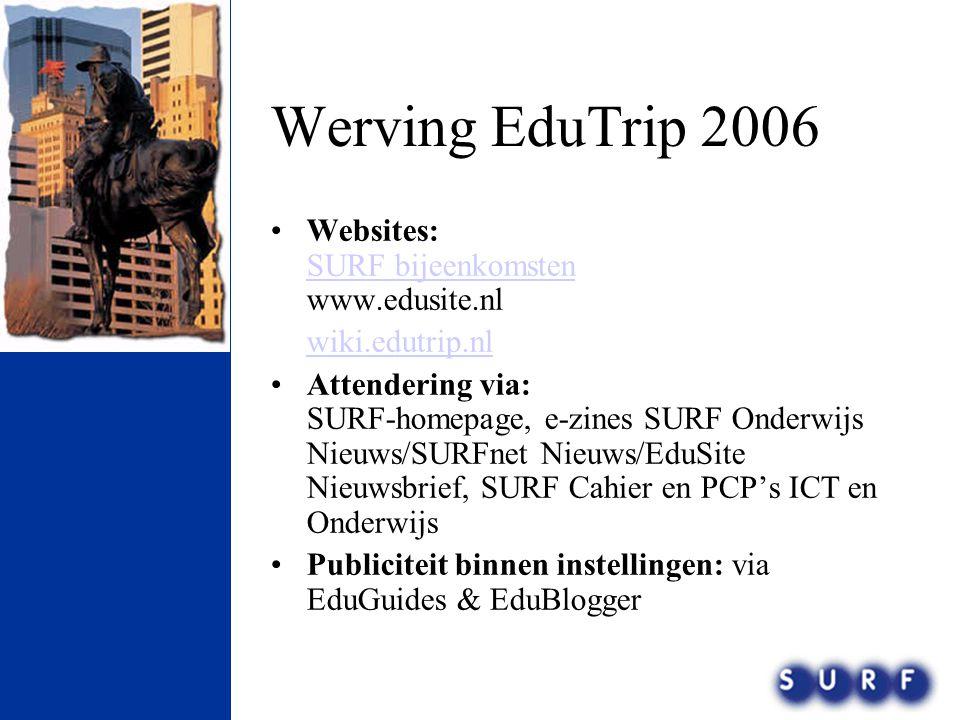Werving EduTrip 2006 •Websites: SURF bijeenkomsten www.edusite.nl SURF bijeenkomsten wiki.edutrip.nl •Attendering via: SURF-homepage, e-zines SURF Ond