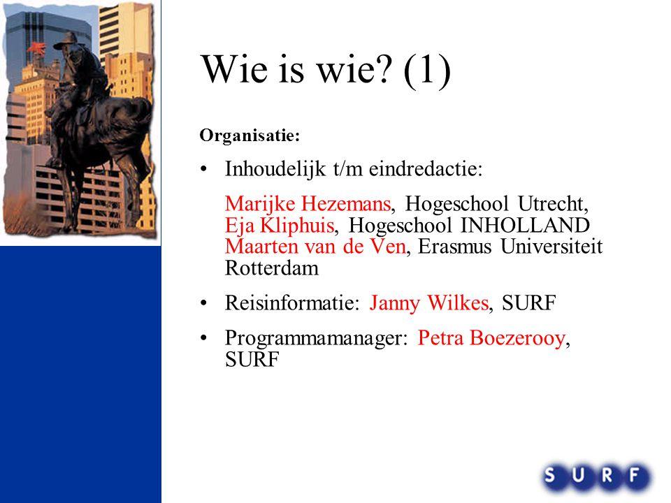 Wie is wie? (1) Organisatie: •Inhoudelijk t/m eindredactie: Marijke Hezemans, Hogeschool Utrecht, Eja Kliphuis, Hogeschool INHOLLAND Maarten van de Ve