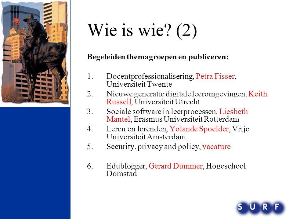 Wie is wie? (2) Begeleiden themagroepen en publiceren: 1.Docentprofessionalisering, Petra Fisser, Universiteit Twente 2.Nieuwe generatie digitale leer