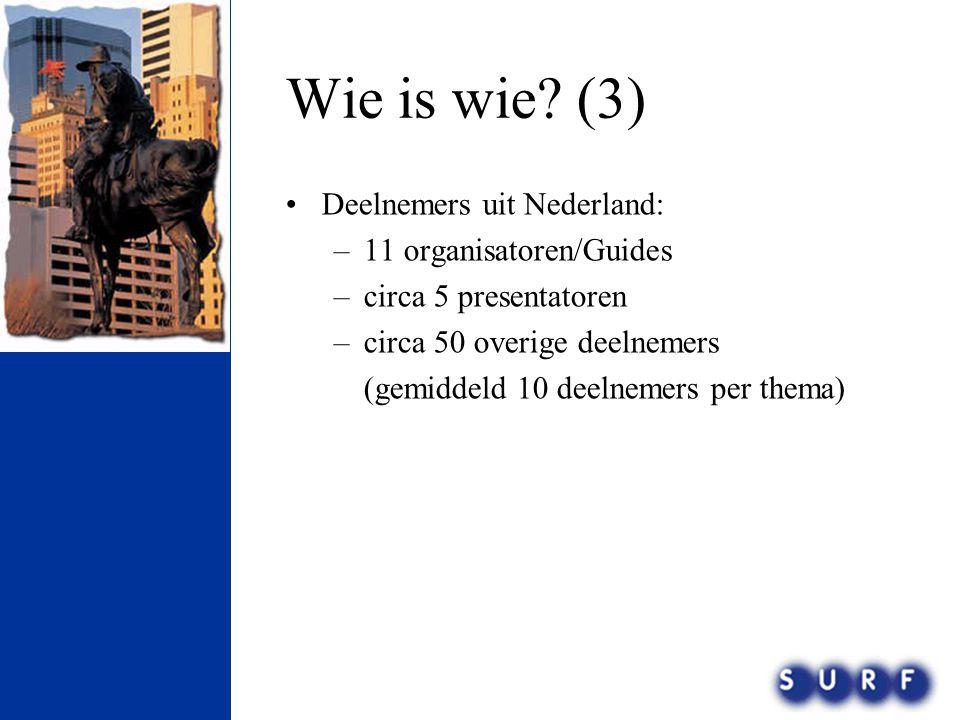 Opzet conferentie •2005: 7000 deelnemers, 1900 instellingen, 70 Nederlandse deelnemers •2006: Pre conferences: 9 okt.