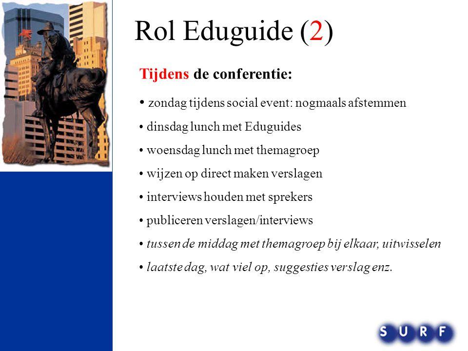 Rol Eduguide (2) Tijdens de conferentie: • zondag tijdens social event: nogmaals afstemmen • dinsdag lunch met Eduguides • woensdag lunch met themagro