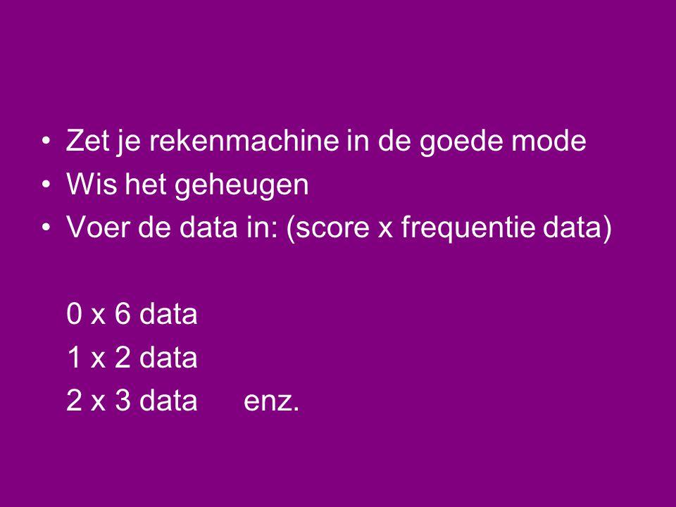 •Zet je rekenmachine in de goede mode •Wis het geheugen •Voer de data in: (score x frequentie data) 0 x 6 data 1 x 2 data 2 x 3 dataenz.