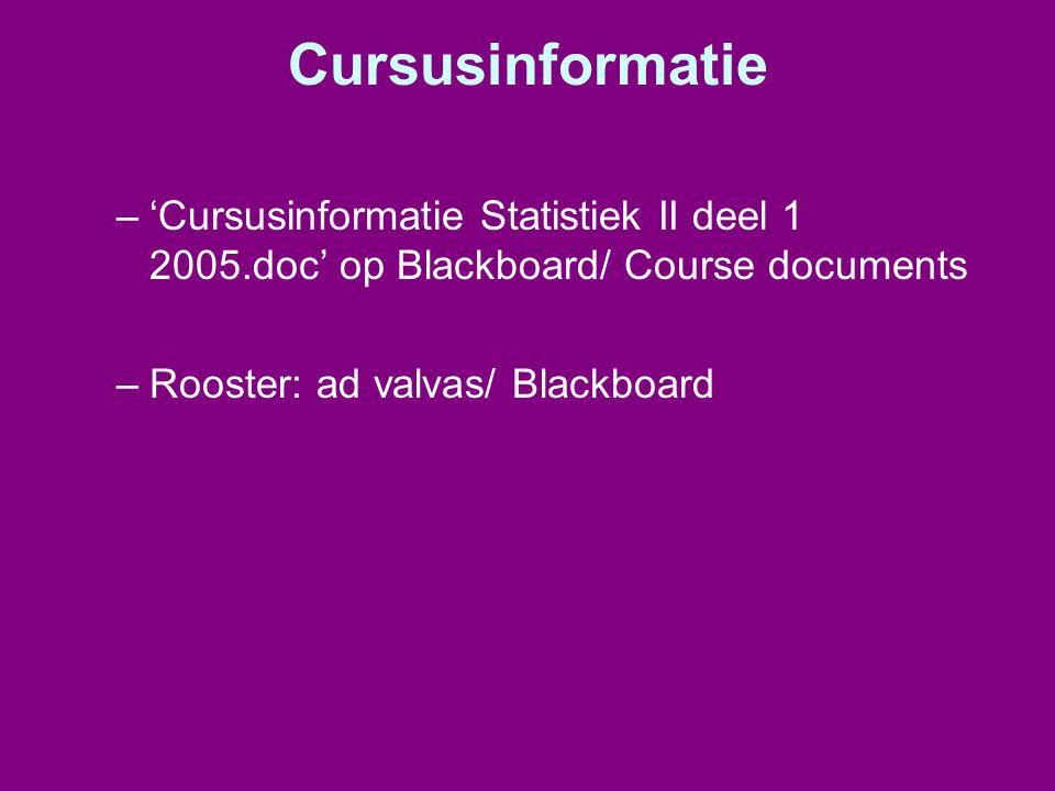 Cursusinformatie –'Cursusinformatie Statistiek II deel 1 2005.doc' op Blackboard/ Course documents –Rooster: ad valvas/ Blackboard