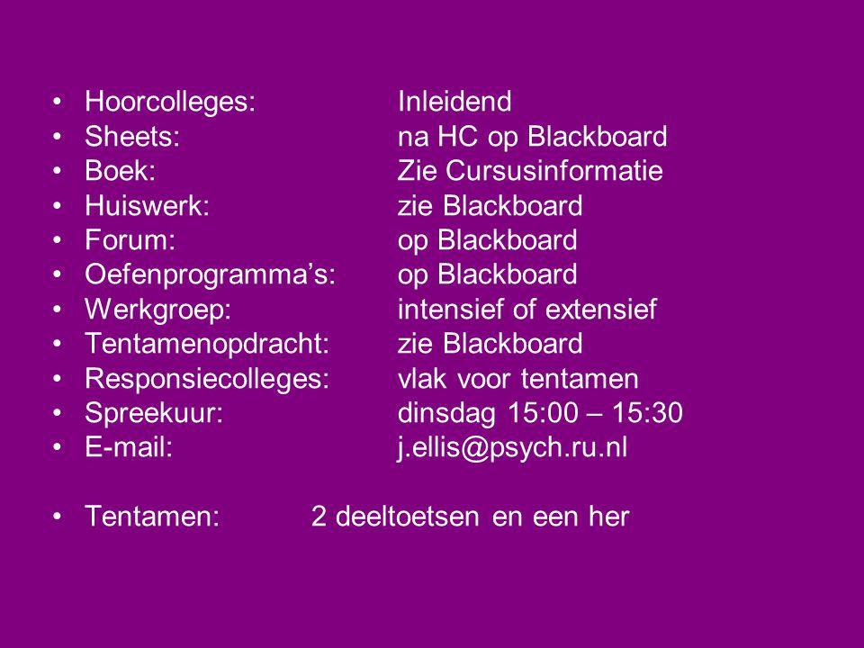 •Hoorcolleges:Inleidend •Sheets:na HC op Blackboard •Boek:Zie Cursusinformatie •Huiswerk:zie Blackboard •Forum:op Blackboard •Oefenprogramma's:op Blac
