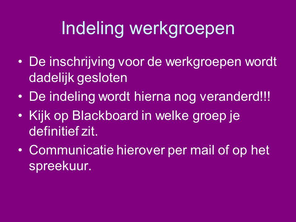Indeling werkgroepen •De inschrijving voor de werkgroepen wordt dadelijk gesloten •De indeling wordt hierna nog veranderd!!! •Kijk op Blackboard in we