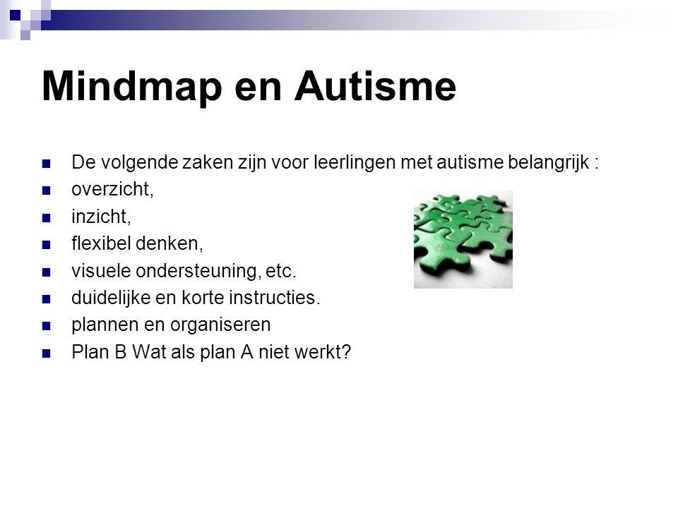 Mindmap en Autisme  De volgende zaken zijn voor leerlingen met autisme belangrijk :  overzicht,  inzicht,  flexibel denken,  visuele ondersteunin