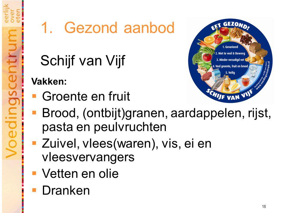 18 1.Gezond aanbod Schijf van Vijf Vakken:  Groente en fruit  Brood, (ontbijt)granen, aardappelen, rijst, pasta en peulvruchten  Zuivel, vlees(ware