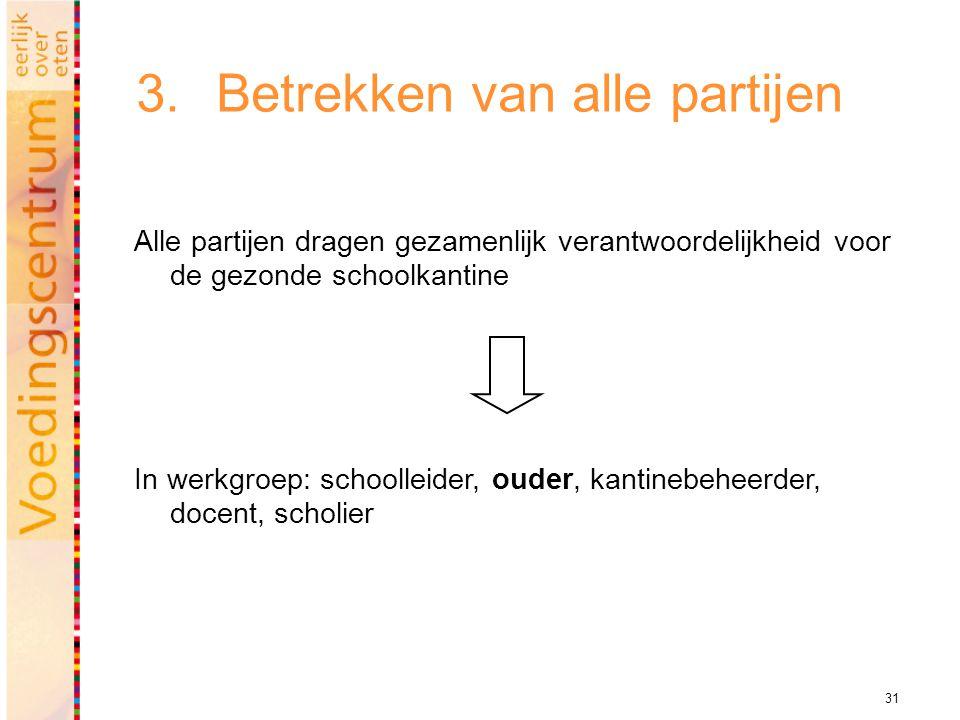 31 3.Betrekken van alle partijen Alle partijen dragen gezamenlijk verantwoordelijkheid voor de gezonde schoolkantine In werkgroep: schoolleider, ouder