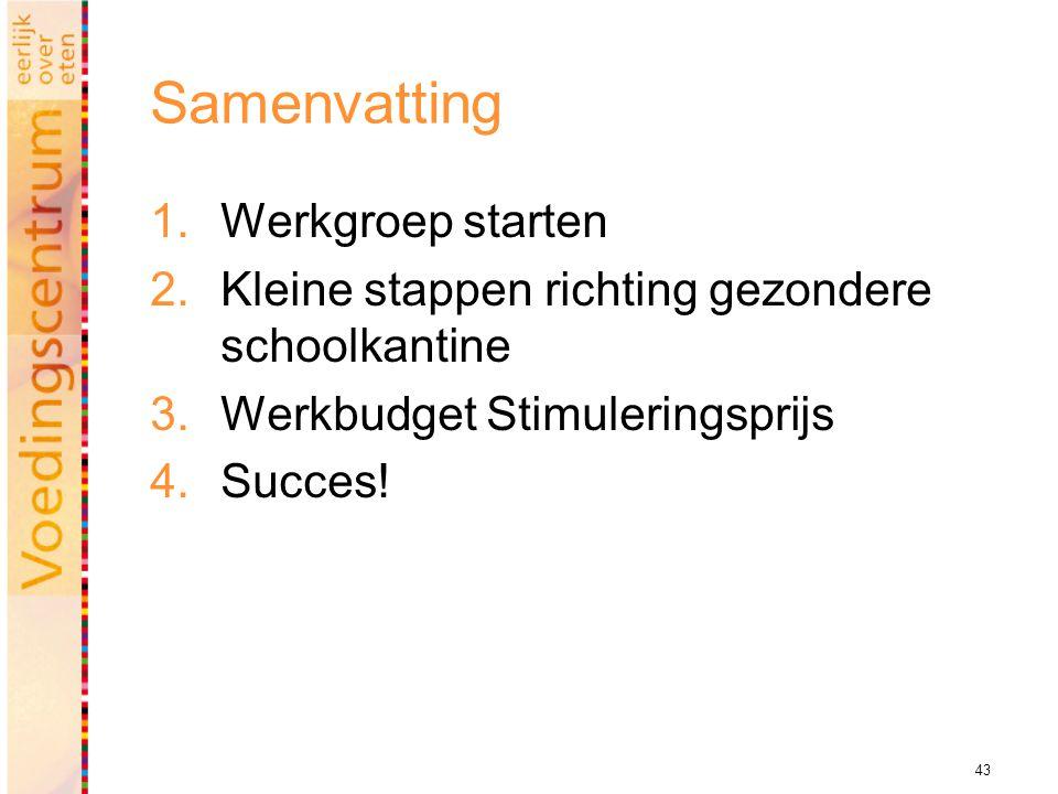 43 Samenvatting  Werkgroep starten  Kleine stappen richting gezondere schoolkantine  Werkbudget Stimuleringsprijs  Succes!