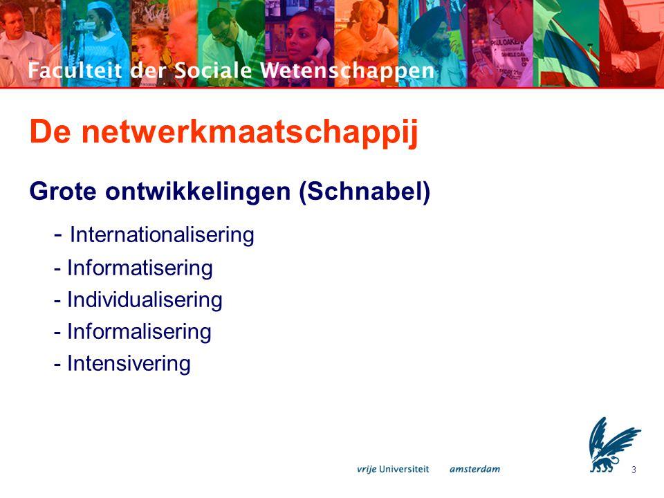 3 De netwerkmaatschappij Grote ontwikkelingen (Schnabel) - Internationalisering - Informatisering - Individualisering - Informalisering - Intensiverin