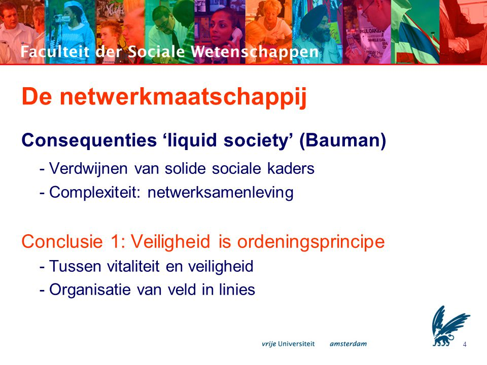 4 De netwerkmaatschappij Consequenties 'liquid society' (Bauman) - Verdwijnen van solide sociale kaders - Complexiteit: netwerksamenleving Conclusie 1