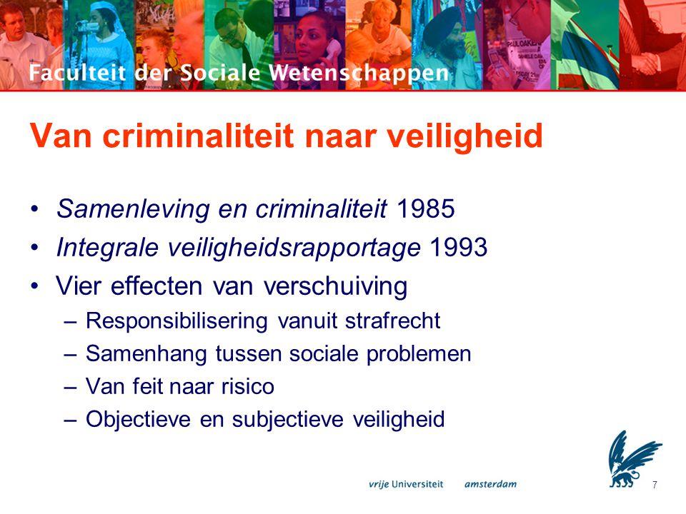 8 Van criminaliteit naar veiligheid Gevoelens van onveiligheid -Angst om slachtoffer te worden -Zorg over criminaliteitsontwikkeling -Onzekerheid over eigen toekomst -Algemeen onbehagen Zelfs als criminaliteitsprobleem volledig onder controle zou zijn dan is nog sprake van onveiligheidsgevoelens.