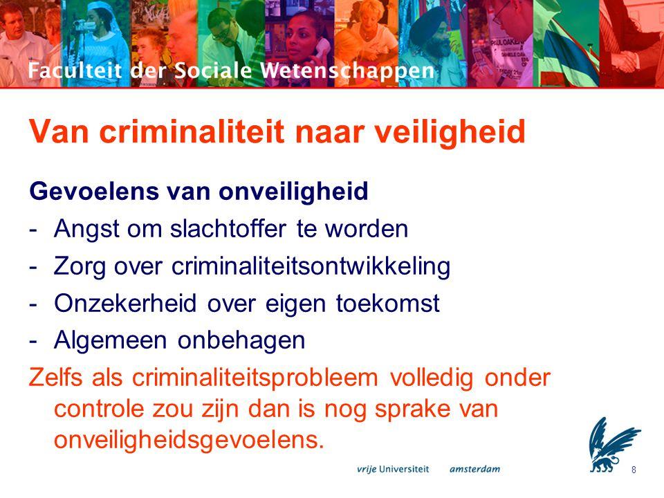 8 Van criminaliteit naar veiligheid Gevoelens van onveiligheid -Angst om slachtoffer te worden -Zorg over criminaliteitsontwikkeling -Onzekerheid over