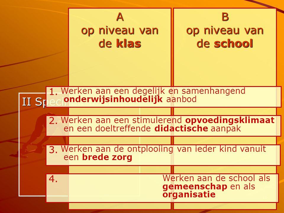 10 II Specifiek deel A op niveau van de klas B op niveau van de school 1. Werken aan een degelijk en samenhangend onderwijsinhoudelijk aanbod 2. Werke