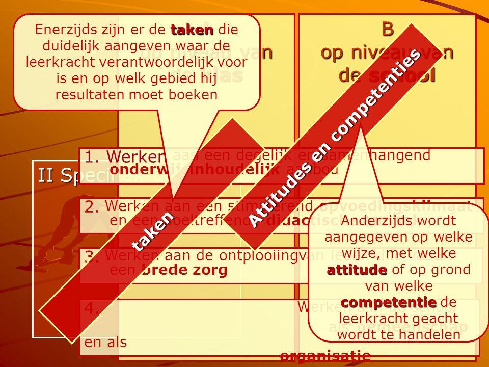 11 II Specifiek deel A op niveau van de klas B op niveau van de school 1. Werken aan een degelijk en samenhangend onderwijsinhoudelijk aanbod 2. Werke